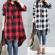 ZANZEA Women Long Sleeve A-Line Asymmetrical Hem Shirt Dress Irregular Tops Plus