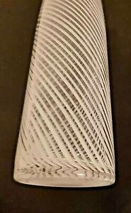 Vase Tall Handblown Art Glass Vase White Swirls