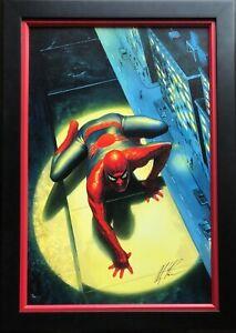 ALEX ROSS rare SPECTACULAR SPIDER-MAN giclee CANVAS SIGNED coa FRAMED!
