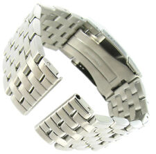 24mm deBeer  Navitimer Style Solid Link FoldOver Buckle Mens Watch Band