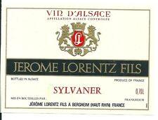 Etiquette de vin Alsace Sylvaner Jérome Lorentz Fils Bergheim