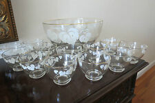 Anchor Hocking Glass Punch Bowl Set 12 Cups White Grape Leaf Design Gold Trim
