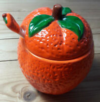 COLLECTABLE CERAMIC ORANGE PRESERVES JAR with LID AND SPOON