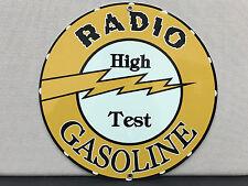 Radio gasoline oil garage racing vintage round metal sign