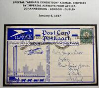 1937 Johannesburg South Africa Airmail RPPC Postcard Cover To Dublin Ireland