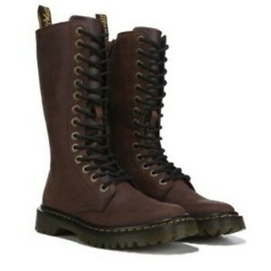 Women Dr. Martens Luana Tall Lace Up Dark Brown Leather Boots Size 10 M 24719201