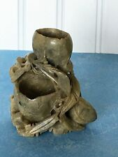 Vintage Antique Carved Soapstone Double Vase Leaf Craved Sculpture