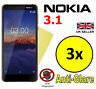 3x HQ MATTE ANTI GLARE SCREEN PROTECTOR COVER SAVER FILMS GUARDS FOR NOKIA 3.1