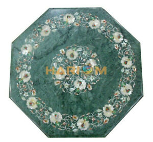 """12"""" Marble Coffee Table Top Marquetry Mother of Pearl Floral Inlay Decors B178"""