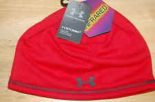 under armour mens elements coldgear infrared storm beanie water resistant red