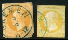GERMANY STATES HANOVER SCOTT# 22, 22a MICHEL# 16 USED LOT OF 2 AS SHOWN