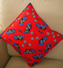 "Childrens Cushion Cover 16 ""Grand Prix Car Birthday Gift made in UK RED & BLUE"