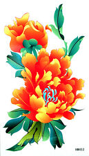 KH Big Orange Colour  Peonies with Leaves Temporary Tattoos HM453 New Arrival!!