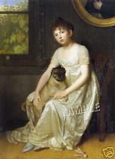 1810 VINTAGE REGENCY VICTORIAN GIRL PUG DOG CANVAS ART