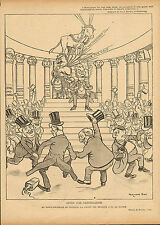 fernand fau: stock exchange london . print  from  le rire dated 1900
