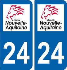 REGION AQUITAINE / 2 STICKERS AUTOCOLLANT PLAQUE IMMATRICULATION DEPARTEMENT 24