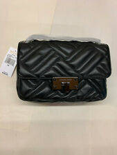 MK Michael Kors Peyton Medium Leather MD Shoulder Flap Bag BLACK 35S9TP6F2T