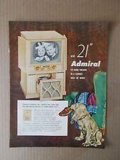 """ADMIRAL 21"""" TV HOME THEATRE 1952 VINTAGE MAGAZINE AD  INV#215"""