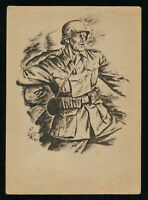 GOLD TEK WW2 WWII Germany 3rd Reich Postcard Hitler German Army Soldier Feldpost