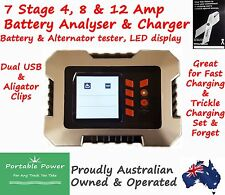 7 Stage 12a Smart Battery Charger 12 amp 12 Volt LCD Display Analyses & Tests