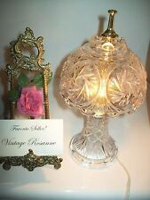 """Pinwheel Crystal Lamp w Brass Accents Vintage 11"""" Tall Thumb On/Off Switch Vntge"""