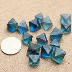 Natural Clear Blue Fluorite Crystal Rock point octahedron Rough Specimens