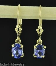 14k yellow gold lever back dangling oval Tanzanite earring AAA 1.90 carats USA