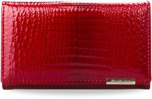 elegante Damen Geldbörse 100% Leder mit Schnappverschluss Jennifer Jones rot