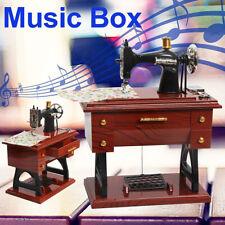 US Music Box Mini Sewing Machine Style Mechanical Birthday Gift Table Decor