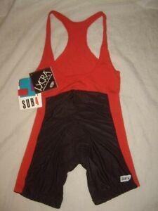 Vintage 1980s NOS SUB 4 Shiny Black Spandex/Red Trim Cycling Bibs Men's Size M