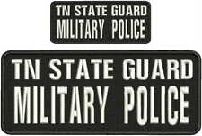 TN STATE GUARD military police embroidery patch 4x10 and 2x5 hook on back white