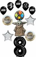 Star Wars Mandalorian the Child 8th Birthday Party Supplies Baby Yoda Balloon...
