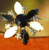 Silver tone black and white color navette rhinestones snowflake  BROOCH