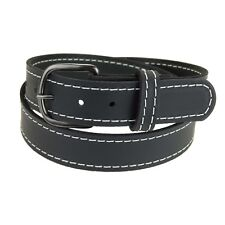 "GM145_Buffalo Leather Belt 1 1/2"" wide_Stitched_Gun Metal Buckle_Amish Handmade"