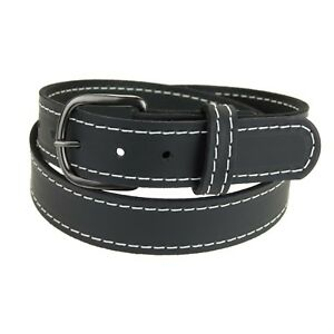"""Men's_Buffalo Leather Belt 1 1/2"""" wide_Accent Stitched_Amish Handmade"""