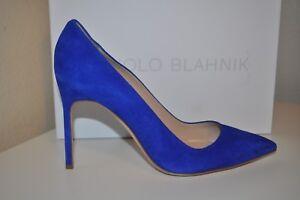 NIB Manolo Blahnik BB 105 Cobalt Blue Suede Pointy Pump Heel Shoes EUR 39.5