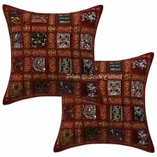 Handmade Sequins Patchwork Cotton Cushion Pillow Covers Maroon Geometrical Set