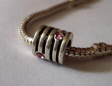 Bead Element Tube Rillen Rosa Strass Farbe Antiksilber Silber für Armband 0306