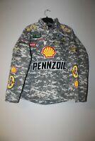 New Joey Logano #22 Pennzoil camouflage NASCAR twill cotton jacket men's XL