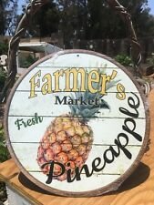 Farmers Market Fresh Pineapple Round Sign Vintage Garage Bar Decor Old Rustic