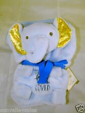 Hallmark Elephant Blue Baby Blanket NEVER FORGET YOUR LOVED Crinkle Ears NWT