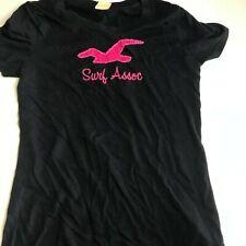 Hollister Navy Blue Surf Association Pink Logo T Shirt size Medium