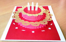 3D PopUp Birthday Cake Greeting Card Wishes Handmade Best Gift Husband Wife Kid