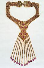 Goldette Vintage 1960's Egyptian Revival Fringe Necklace Unsigned