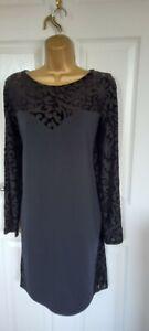 "Asos Curve  size UK-18-20 Black Shift Dress velvet over chiffon detail Bust  44"""