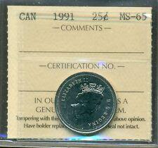 1991 Canada 25 cent ICCS MS 65