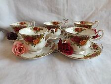 """BEAUTIFUL VINTAGE ROYAL ALBERT """"OLD COUNTRY ROSE"""" SET OF 5 TEA CUPS AND SAUCERS"""