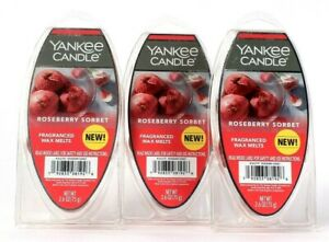 3 Packages Yankee Candle 2.6 Oz Roseberry Sorbet 6 Count Wax Melts