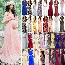 Pregnant Women Long Maxi Dress Maternity Gown Evening Boho Photo Shoot Prop ~