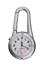 Entino Brand Silver Clip on Carabiner FOB Nurse Doctor Chefs White Face Watch